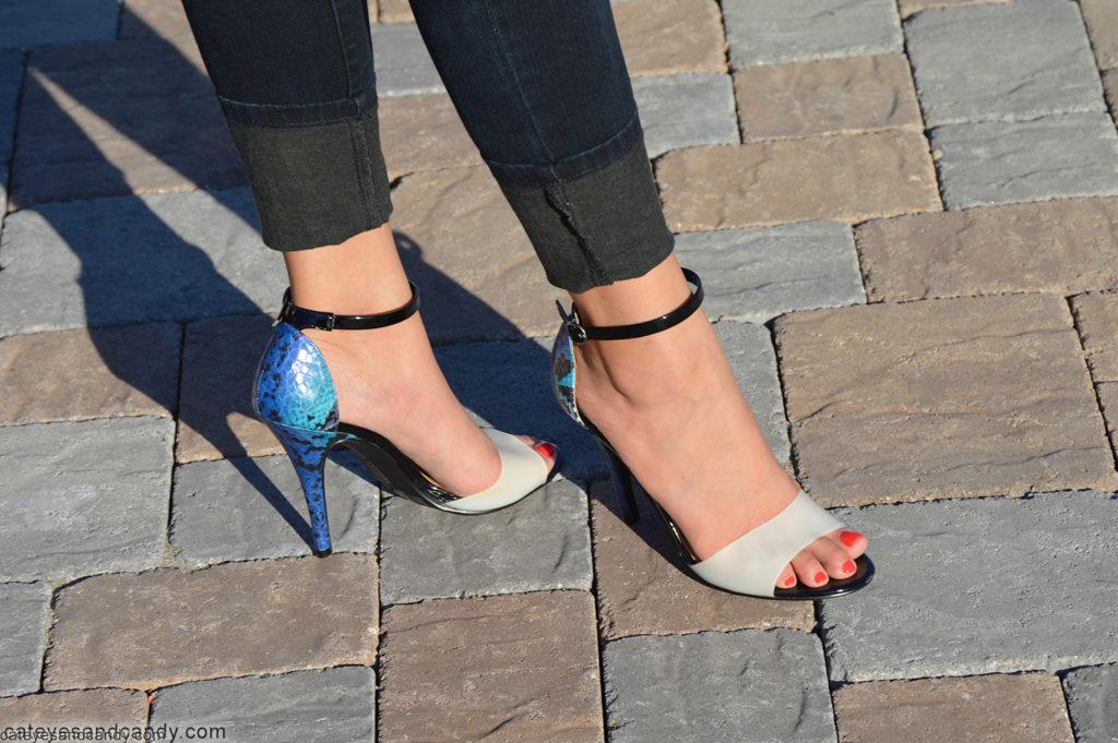 blue snakeskin heels
