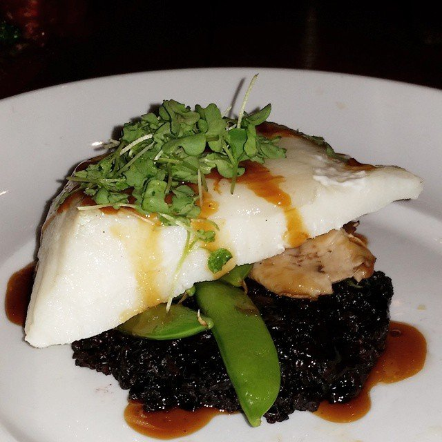 chilean seabass over black rice, shittake mushrooms, and snowpeas from seasons52 for lunch