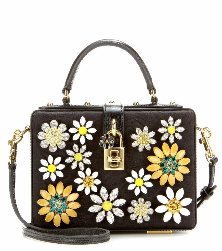 D&G Dolce Box Crystal Flower Satchel Bag