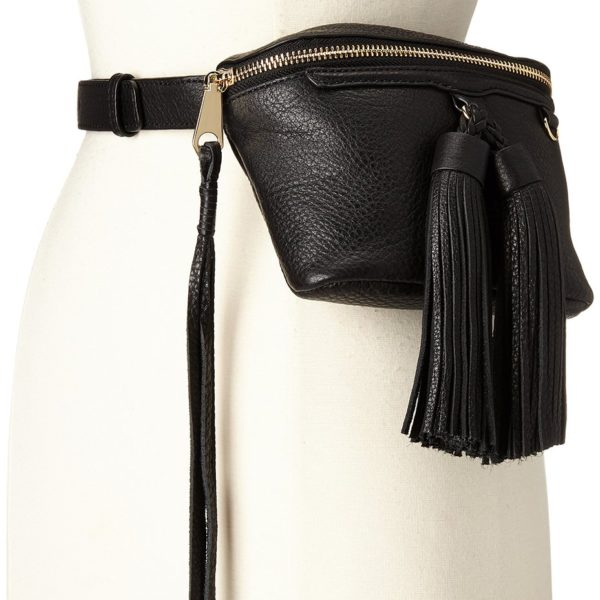 Rebecca Minkoff Black Belt Bag with Tassles