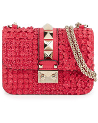 Valentino - Mini Lock Floral-Appliqué Leather Shoulder Bag