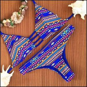 Blue Aztec Bikini Set