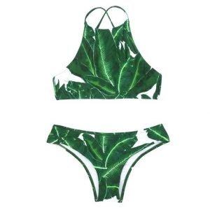 Tropical High Neck Bikini Set