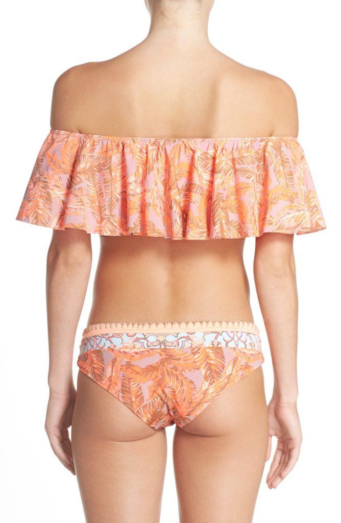 off the shoulder bikini top, back
