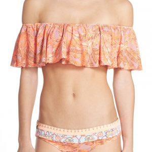 off the shoulder bikini top, front