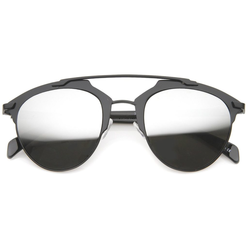 Metal Double Crossbar Aviator Sunglasses - Black