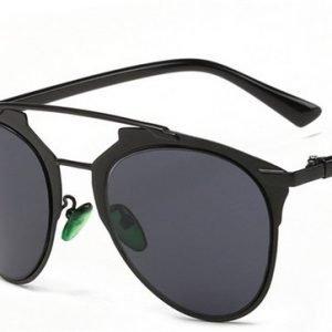 Metal Double Crossbar Aviator Sunglasses - Black, angled