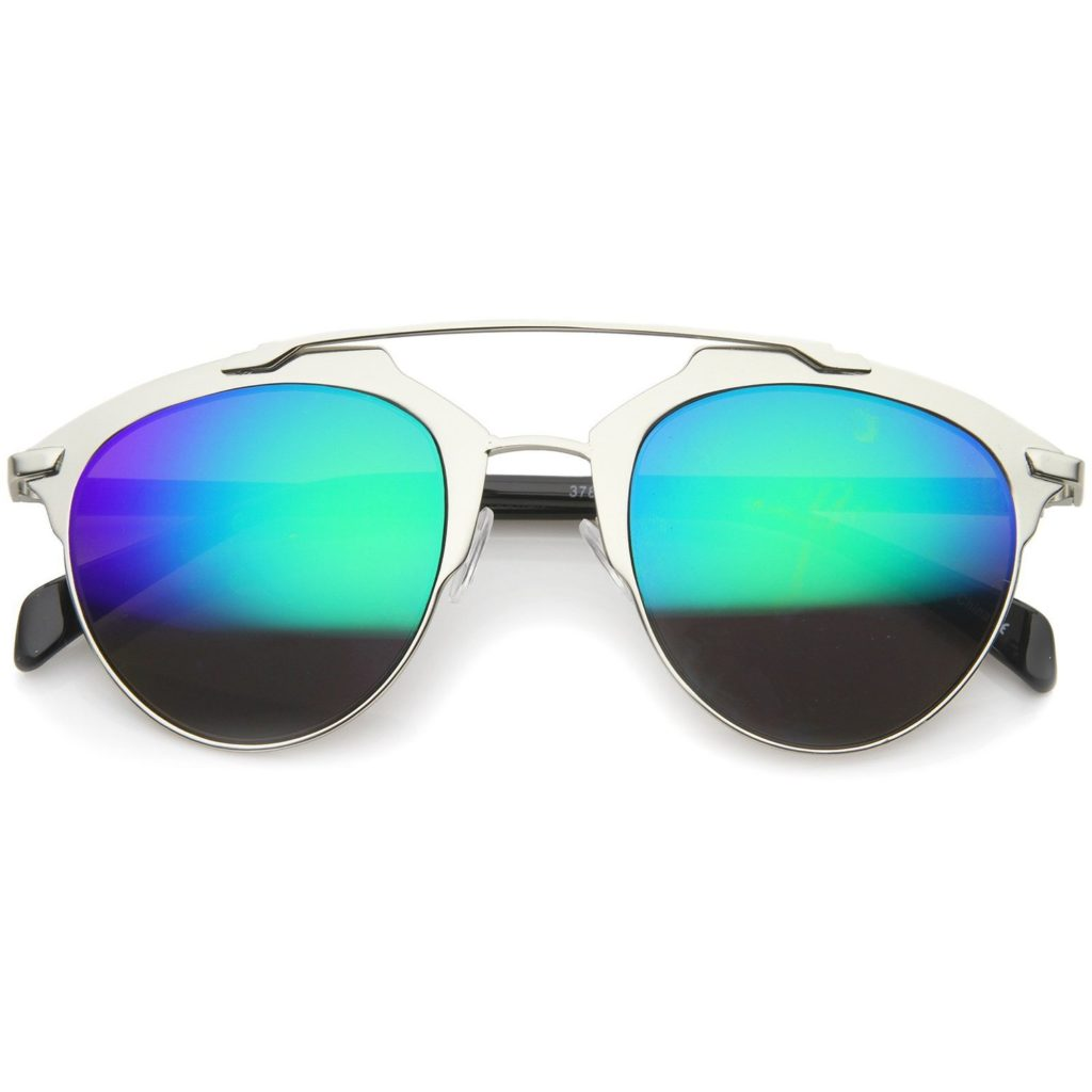 Metal Double Crossbar Aviator Sunglasses - Green Mirrored