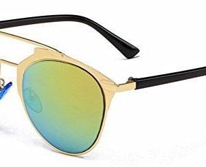 Metal Double Crossbar Aviator Sunglasses - Green, angled