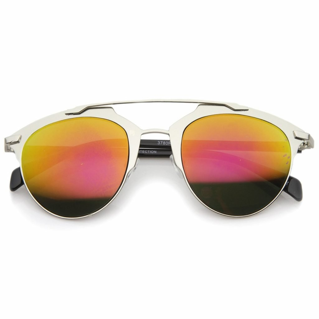 Metal Double Crossbar Aviator Sunglasses - Orange Mirrored