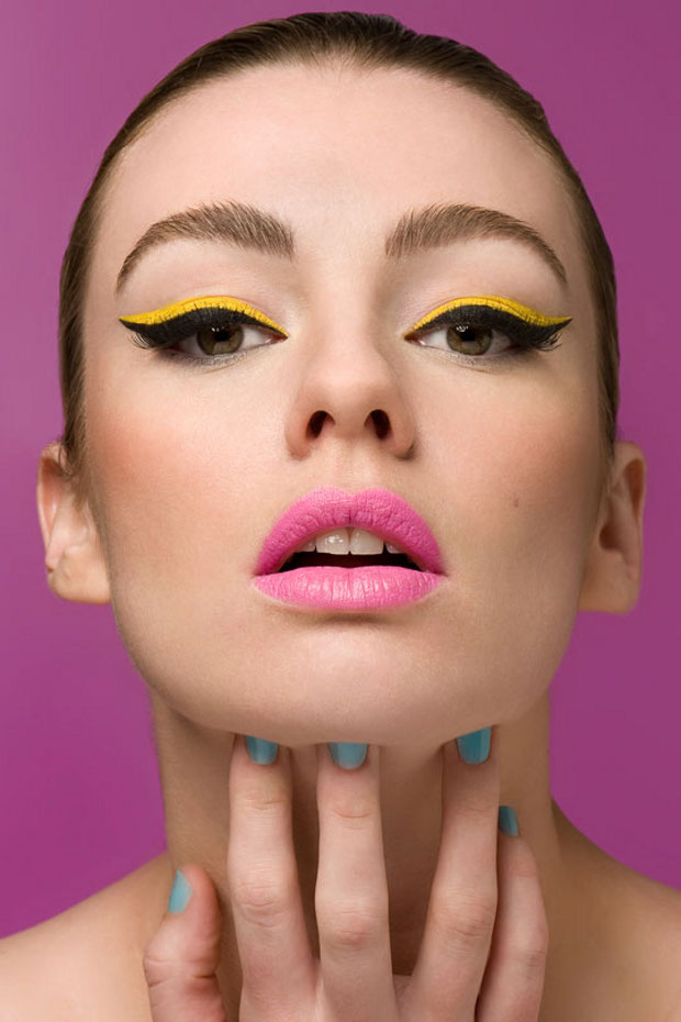 black and yellow cat eye makeup