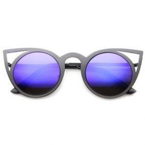 Metal Cat Sunglasses - Black with Blue Lens
