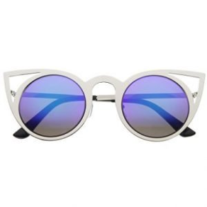 Metal Cat Sunglasses - Silver with Blue Lens
