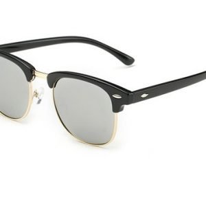 clubmaster sunglasses, silver, angled