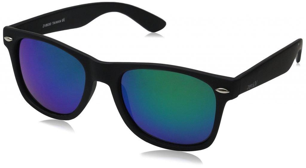 wayfarer sunglasses, blue, angled