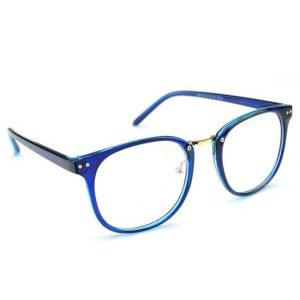 Blue Oversized Eyeglasses, angled