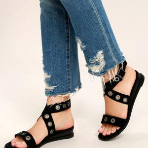 Black Grommet Sandals
